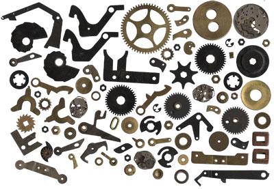 steampunk gears antique typewriter keys clock hands vintage