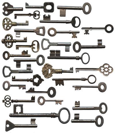 antique door and cabinet keys image - Steampunk Gears Antique Typewriter Keys Clock Hands Vintage